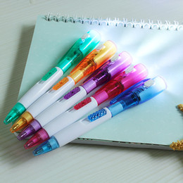 Flashlight Pens Wholesale Australia - Korean creative stationery is lovely, new and unique, with LED lights, flashlights, multi-function ballpoint pen students.