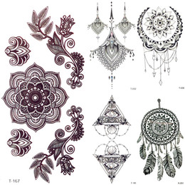 temporary body painting Australia - 3D Black Mandala Flower Henna Temporary Tattoo Girl Pendants Tattoo Stickers Women Fake Party Chest Tatoos Body Arm Art Painting