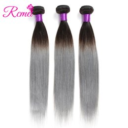 Discount gray ombre weave - Rcmei Ombre Brazilian Hair Bundles 1B Grey Human Hair Weave Gray Color Ombre Straight Weaving 3 Bundles Deal Extensions