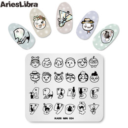 Cartoon Stamping NZ - 1PC MIN 024 Nail Art Stamping Plates Lovely Patterns Cartoon Number Design Plates Stamp Nail 2018 Hot Selling Style