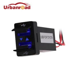 sockets car cigarette adapter 2019 - Urbanroad Blue DC 12V Dual USB Car Cigarette Lighter Socket Charger Power Adapter Outlet 2 USB Port Charger Socket For d