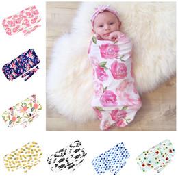 Discount baby sleep vest - Baby Swaddle Blanket Headband Newborn Muslin Swaddling Fashion Cute Print Spring Autumn Sleeping Bag for Boys Girls New