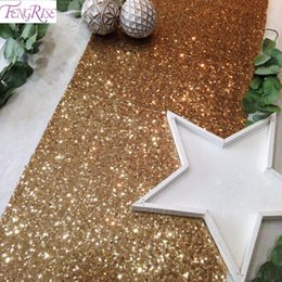 Champagne Tablecloth Wedding Australia - FENGRISE 30x275cm Gold Sequin Table Runner Wedding Table Decoration Champagne Silver Tablecloth Bachelorette Party Decoration