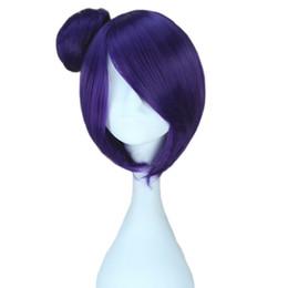 Purple Costume UK - Women's Lolita Harajuku Prestyled Buns Girls Cute Party Cosplay Costume Wigs Short Purple