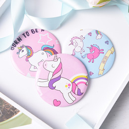 $enCountryForm.capitalKeyWord Canada - Cartoon Unicorn Pocket Mirror Mini Makeup Cosmetic Compact Mirrors Wholesale Cheap Promotion Gift for Women Lady Girls