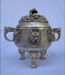 Other Chinese Antiques Useful Collection China Tibet Silver Carving God Beast Incense Burner M114 Antiques
