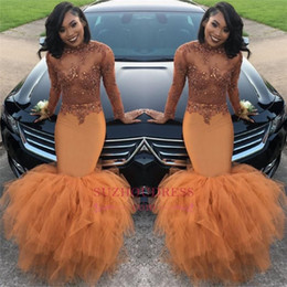 drape neck beaded dress 2019 - 2k17 African Long Sleeve Prom Dresses Tiered Skirts High Neck See through Lace Applique Top Beaded Plus Size Evening Gow