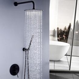 $enCountryForm.capitalKeyWord Australia - Matt Black Bathroom Shower Ultra-thin Wall Recessed Showerhead Ceiling Brass Shower Faucets Set Rain Hand Showers 8 10 12  Inch