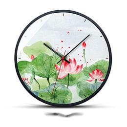 $enCountryForm.capitalKeyWord UK - Pastoral Style Wall Clock Lotus Pattern Needle Quartz Metal Glass Mirror Clock Hanging The Wall Home Bedroom Decoration Crafts