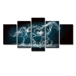 Canvas Photo Prints Australia - Abstract Painting Wall Frame Pictures Home Decor Photo 5 Panel Animal Water Horse Landscape HD Print Modern Canvas Poster