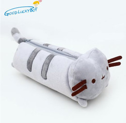 kawaii pens NZ - 1pcs Kawaii Stuffed Cat Plush Toy 24cm Cat Cute Pencil Case Pen Bag School Supplies Animal Doll for Children