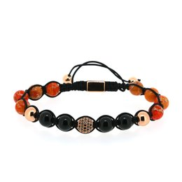 $enCountryForm.capitalKeyWord UK - 8mm Black Onyx Insert Red Pattern Stone Beads Rose Gold Color Round Black CZ Zircon Charm Adjustable Macrame Bracelet For Man