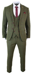 Harris tweed vest online shopping - NEW Olive Green Pieces Tweed Men s Suit Slim Fit Jacket Custom Made Tuxedos Groomsmen Suits Top Quality Wedding Suit Jacket Pants Vest