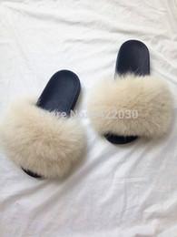 fluffy slippers 2019 - New Arrivals 2018 Popular Real Fox Fur Slipper Women Slides Fashion Summer Fluffy Fur Lady cheap fluffy slippers