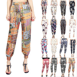 $enCountryForm.capitalKeyWord NZ - Women Harem Pants Summer Beach Elastic Waist Drawstring Loose Floral Printed Trousers