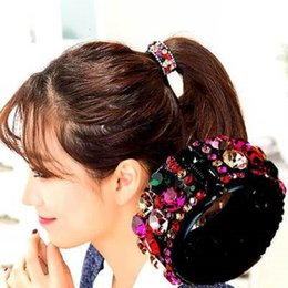 Hair Accessory Jewelry Holder NZ - Rhinestone Crystal Ponytail Buckle Pony Tails Holder Round Hair Bands Hair Jewelry Accessories Ornament DHL FREE