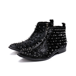 a20f58e8fd2 Punk Style Men Black Fashion Martin Boots Shoes 2018 Autumn Rivets Chunky  Pointed Toe Male Knight Boots Shoes Motorcycle Bootie