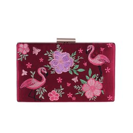 CoCktail purses online shopping - National Chinese Style Women Vintage Floral Red Clutch Purse Bridal Wedding Embroidery Flower Bird Cocktail Party Evening Bag
