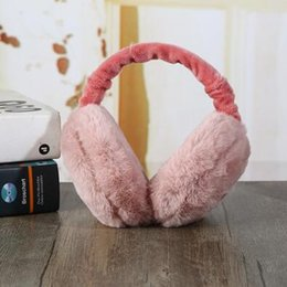 pink earmuffs UK - New winter burger folding portable men and women warm earmuffs solid color cold-proof anti-freeze plush earmuffs