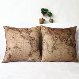 Cotton World Map Australia - World map synthesis linen car office cushion, nap, home pillow, pillow case without inner core.