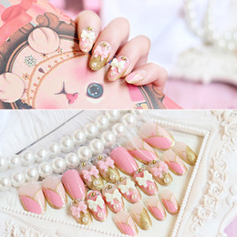 $enCountryForm.capitalKeyWord Canada - 24pcs lot Faux Ongles Full Cover False Nails 3D Pink Bow Glitter Pearl Rhinestone Artificial Nails Finished French Designs Bride