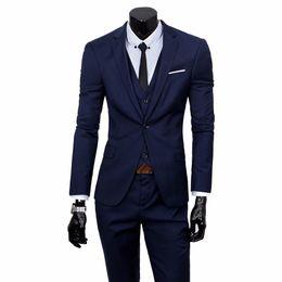 Discount dark blue gentlemen suits - Terno Tuxedo Bussiness Blazer Suits Slim Fit Men Suit Latest Coat Pant Gentleman Suits Wedding Groom Jacket with Pants V