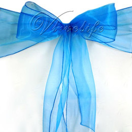 royal blue chairs 2019 - Wholesale-100PCS Royal Blue Organza Chair Sashes Bow Cover Banquet wedding party decorations discount royal blue chairs