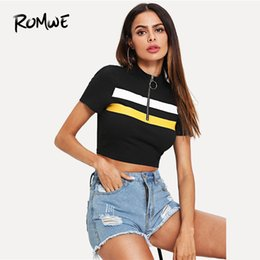 Wholesale Romwe Sport Black Zipper Stand Collar Short Sleeve Striped Pattern Knit Running Short T Shirts Women Slim Fit Sportwear Crop Tee