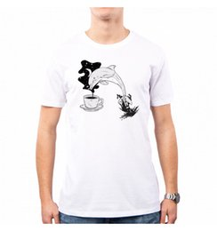 Dolphins Shirts Canada - T-SHIRT MAN DELFINO SPAZIALE SPACE COFFEE DOLPHIN DRAWING FEDERICO SANTORO SA000