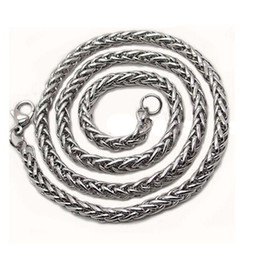 Discount mens silver snake chains - 3 4 5 6MM Mens Silver Stainless Steel Wheat Braided Chain Necklace Jewellery New