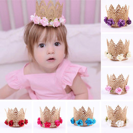 Wholesale Toddler Baby Kids Girl Cute Lace Flowers Gold Crown Headband Hair Band Clothing Accessory Headwear Princess Party Head Wear