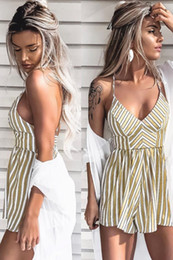 $enCountryForm.capitalKeyWord Australia - striped jumpsuits for women 2018 women sexy jumpsuit playsuit sleeveless overalls short off shoulder striped sexy shorts rompers
