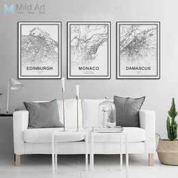 world map prints canvas 2019 - Black and White World City Map Las Vegas Toronto Posters Prints Nordic Living Room Home Decor Wall Art Pictures Canvas P