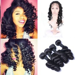 peruvian loose wave hair 2019 - Peruvian Human Hair Loose Wave 360 Lace Frontal Closure With Bundles Natural Color Pre Plucked 360 Frontal cheap peruvia