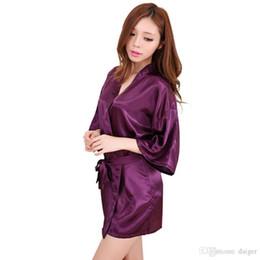 e3a1fd13ee Wholesale- Purple 2016 Short Style Women s Silk satin Robe Gown Kimono Gown  Wedding Party Bridesmaid Robe size S M L XL XXL XXXL