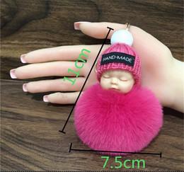 $enCountryForm.capitalKeyWord Canada - New Hot Cute Sleeping Baby Doll Keychain Pompom Rabbit Fur Ball Key Chain Car Keyring Women Key Holder Bag Pendant Charm Accessories