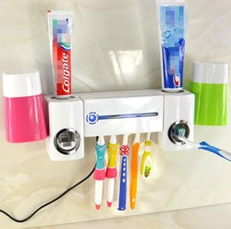 Wholesale High Quality UV Toothbrush Cleaner Sanitizer Sterilizer Holder Automatic Toothpaste Dispenser Squeezer Device Box Oral Care With Cup
