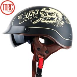$enCountryForm.capitalKeyWord Australia - New Harley helmet With Inner Sun Visor Vintage Half Face Motorcycle summer Helmet Casco Casque Moto Retro Helmets DOT T55
