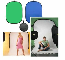 outdoor backdrops NZ - 60x90cm Photography Studio Portable Outdoor Green Blue Screen Chromakey Backdrop 2in1 COLLAPSIBLE BACKGROUND with carrying bag