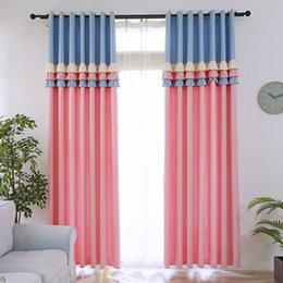 Querida princesa estilo blackout cortina para quarto de crianças menina quarto bonito azul / rosa lace costura cortina para sala de estar cortina