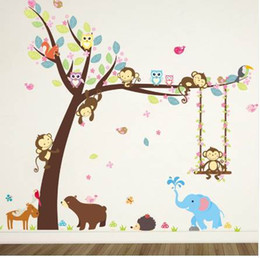 stick trees for walls NZ - Forest Animals Tree wall stickers for kids room Monkey Bear Jungle wild Children Wall Decal Nursery Bedroom Decor Poster Mural