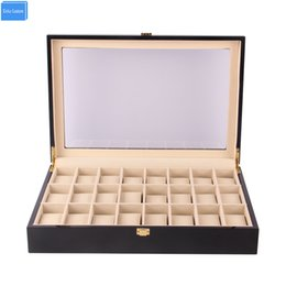 Big Storage Boxes Australia - Big Size Black Red Wood Watch Holder 24 Slots Watches Box Organizer Case Storage Dispaly, Promotion Exhibition Jewelry Watches Boxes Collect