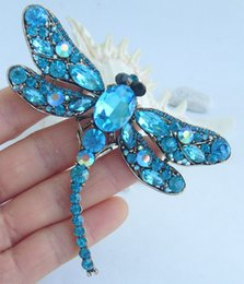 gold tone christmas brooch NZ - Gold-tone Classic Style Beautiful Turquoise Rhinestone Crystal Dragonfly Brooch Pin, Women Ornaments, Art Decorations, Gifts EE05684C8