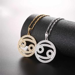 designer 2017 Zodiac Charms CANCER Pendant Simple Design Jewelry Gift  Rhinestone Gold Silver Color Necklace For Men Women P2506 a9bc22ddc7c4