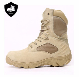 10826fede03a Black Beige Mens Leather army Boots Special Force Desert Jungle Combat  Boats Outdoor hunting Shoes boots mens footwear