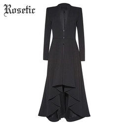 Discount gothic trench coats - Rosetic Gothic Maxi Coat Asymmetric Black Autumn Outerwear Women Trench Wave Cut Overcoat Fashion EleOffice Lady Goth Co