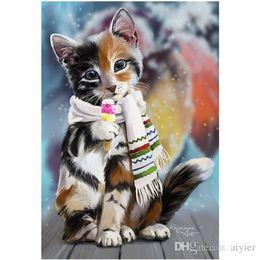 $enCountryForm.capitalKeyWord UK - 5D DIY diamond painting full picture inlaid diamond embroidery wearing scarf kitten fashion crafts art gift decoration pendant
