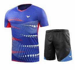 Victor Badminton Shirts Australia - New 2018 victor men badminton T-shirts, men and Women Sportswear shirt, short sleeves+short shorts,quick dry Breathable tennis table shirts