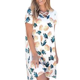 1486cd12514 Women Summer Dress Casual Bandage Pineapple Print O-Neck Short Sleeve Mini  Pocket Woman Dress 2018 Spring Summer Vestidos