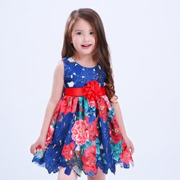 Euro Fashion Summer Flower Girl's Girl Floral pattern girl Party princess Dress Costumes baby Girl Abito lussuoso + cintura